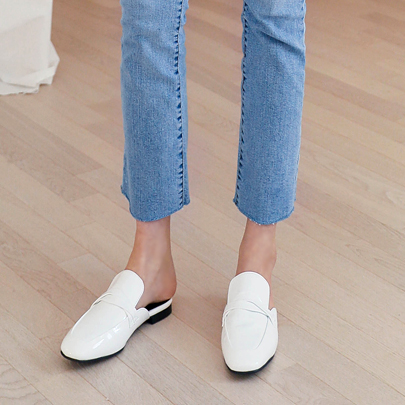 Twist Detail Square Toe Mules