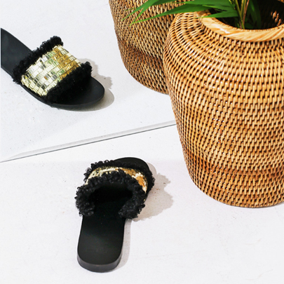 [VELYSOME] Sequin Faux Fur Slippers