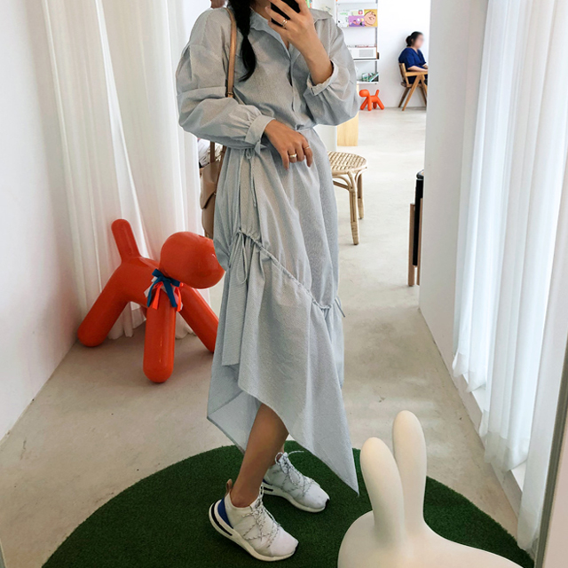 Asymmetric Hem Shirt Dress