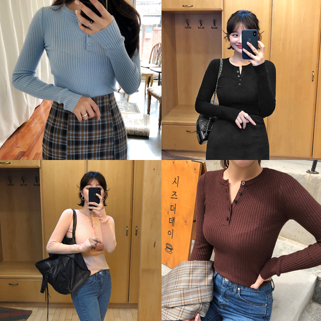 Partial Button Placket Ribbed Knit Top