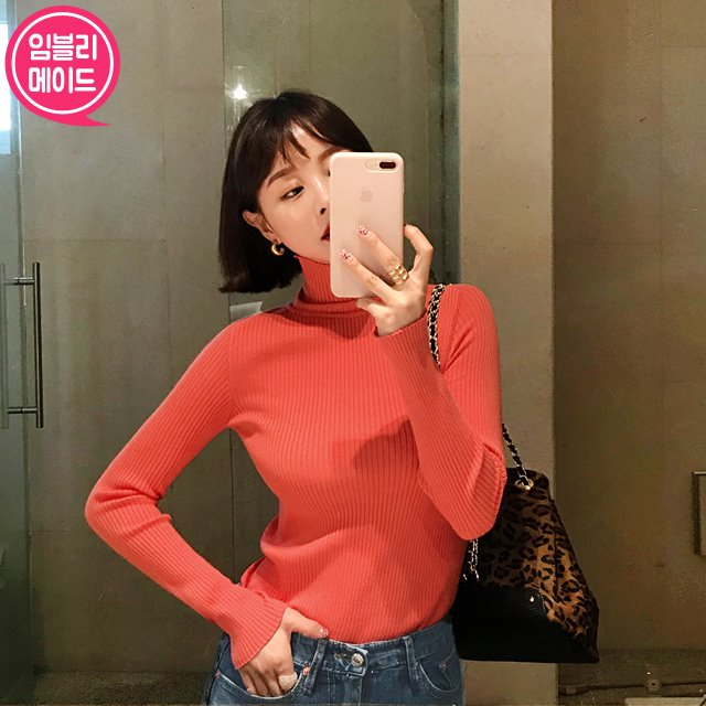 Ribbed Turtleneck Knit Top