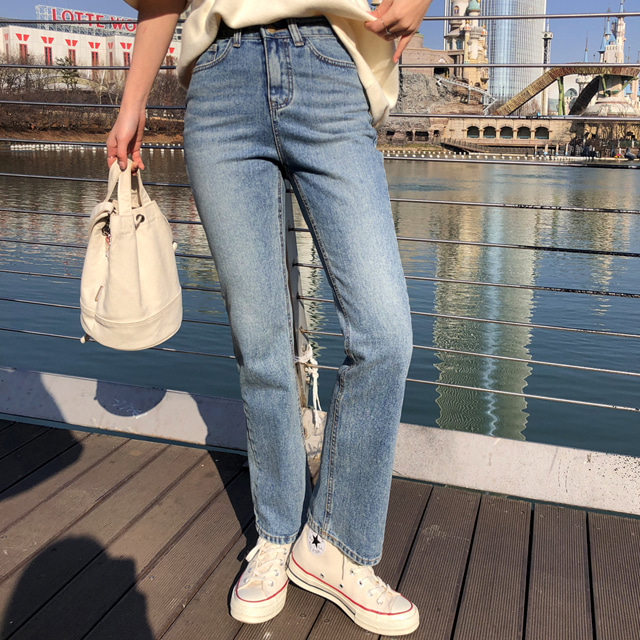 High-Waist Whisker-Washed Jeans