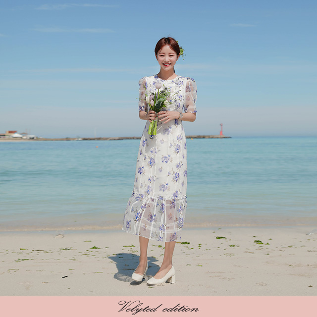[VELYTED EDITION] Check Floral Frilled Midi Dress
