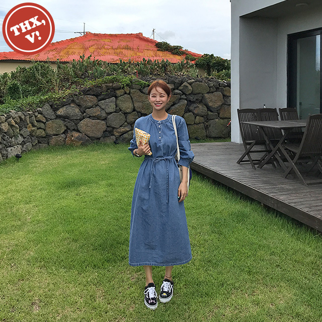 [THX,V] Button Front Denim Dress