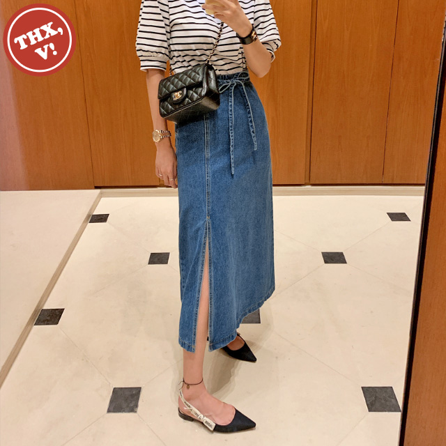 [THX,V] String Belt Long Denim Skirt