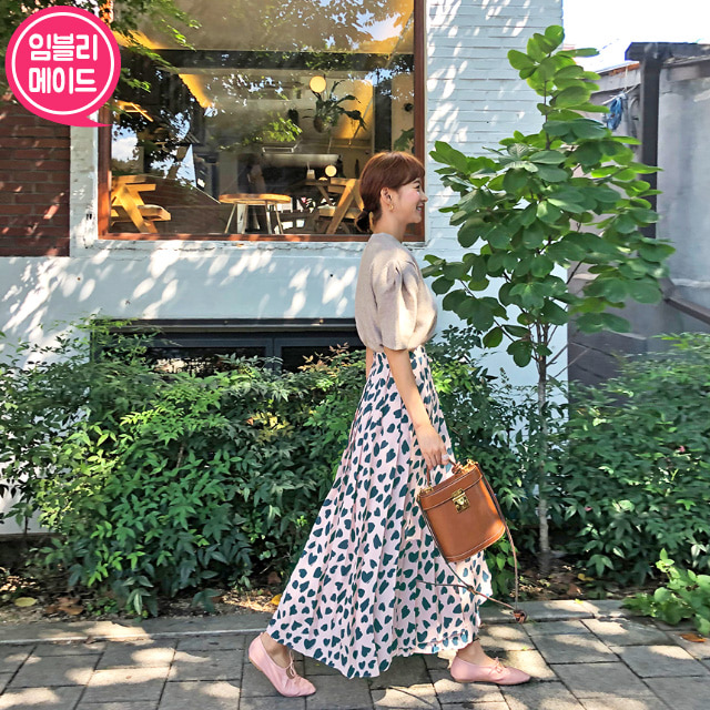 Spot Pattern Pleated Long Skirt