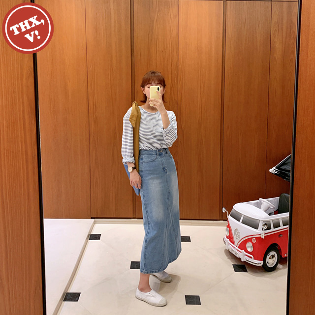 [THX,V] Back Slit Long Denim Skirt