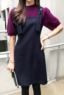 Large Button Pinafore Dress