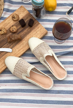 [SUMMER VELY] Toe Cap Woven Mules
