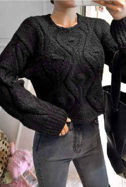 Chunky Eyelet Knit Sweater