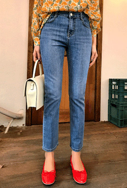 Whiskered Cropped Straight Leg Jeans