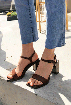 Chunky Heel Ankle Strap Sandals