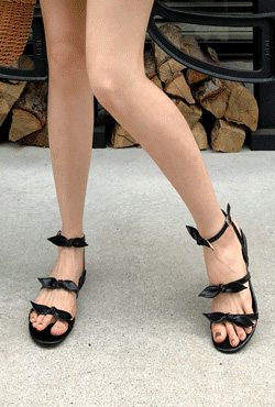 Ribbon Accent Ankle Strap Sandals