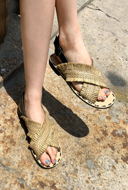 Woven Strap Slingback Sandals