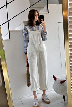 Square Neck White Overalls