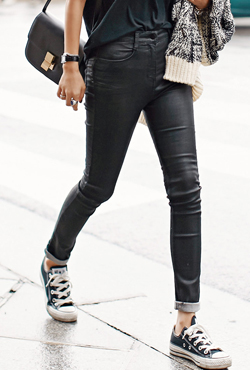 High-Waist Skinny Coated Pants