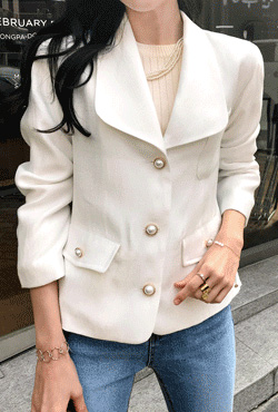 Faux Pearl Button Jacket
