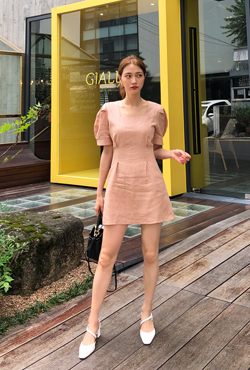 Puff Sleeve A-line Mini Dress