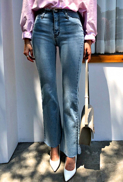Frayed Top Bootcut Jeans