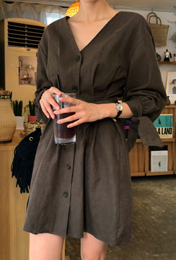 Button-Front Linen Dress