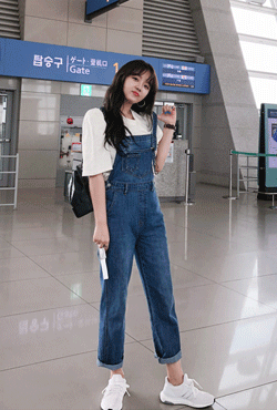 [THX,V] Square Neck Straight Leg Overalls