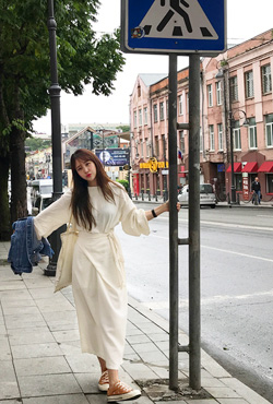 Tie-Waist Midaxi Cotton Dress