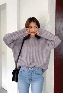 Loose Fit Ribbed Knit Sweater