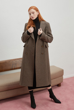 [PREMIUM WOOLMARK BLEND] Double-Breasted Check Coat