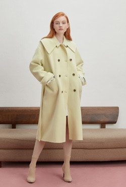 [PREMIUM WOOLMARK BLEND] Handmade Platter Collar Double-Breasted Coat