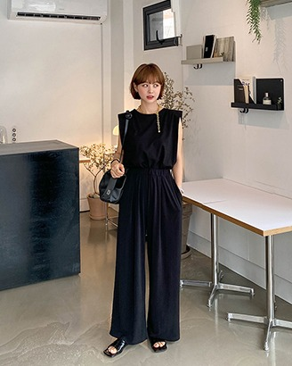 [VELY TENSION] Elastic Waist Wide Leg Pants