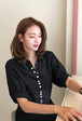Puff Sleeve Button-Front Blouse