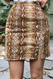 Snake Print Slit Detail Mini Skirt